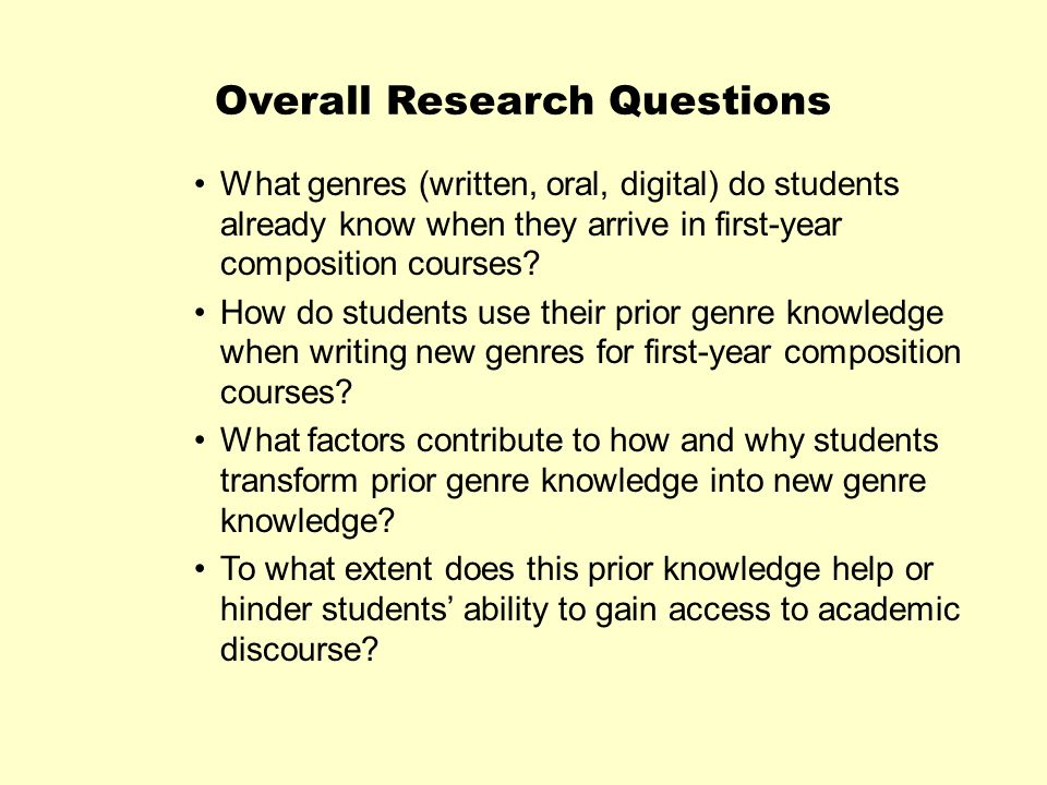 Overall Research Questions