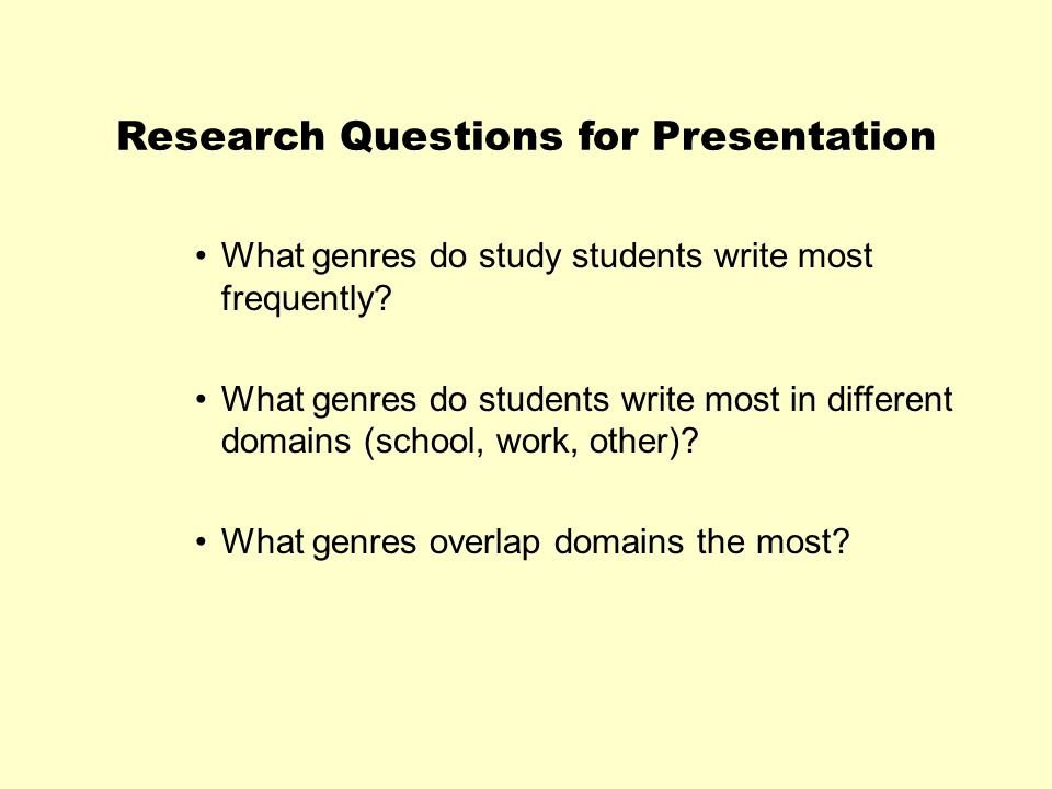Research Questions for Presentation