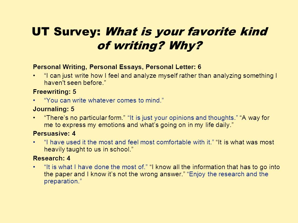 UT Survey: What is your favorite kind of writing Why