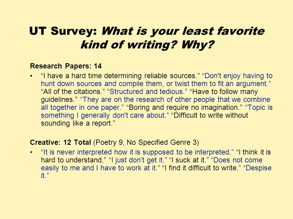 UT Survey: What is your least favorite kind of writing Why