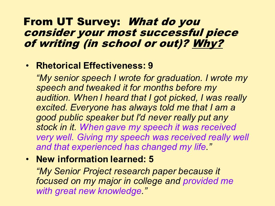 From UT Survey: What do you consider your most successful piece of writing (in school or out) Why