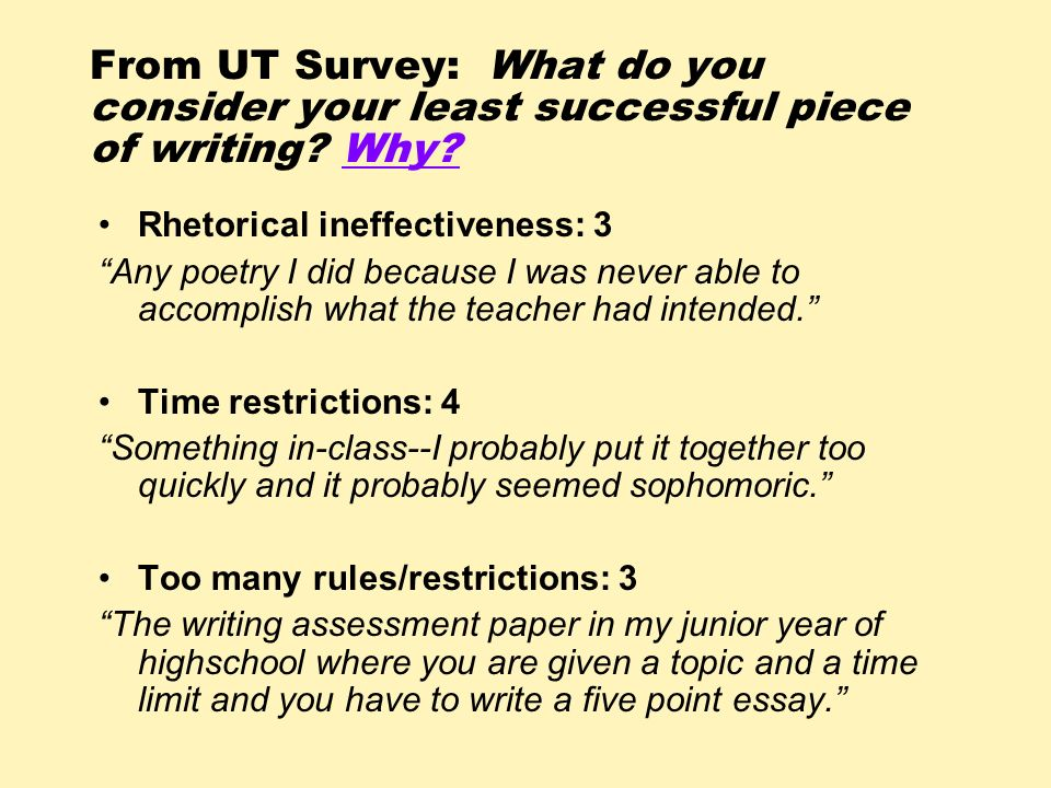 From UT Survey: What do you consider your least successful piece of writing Why