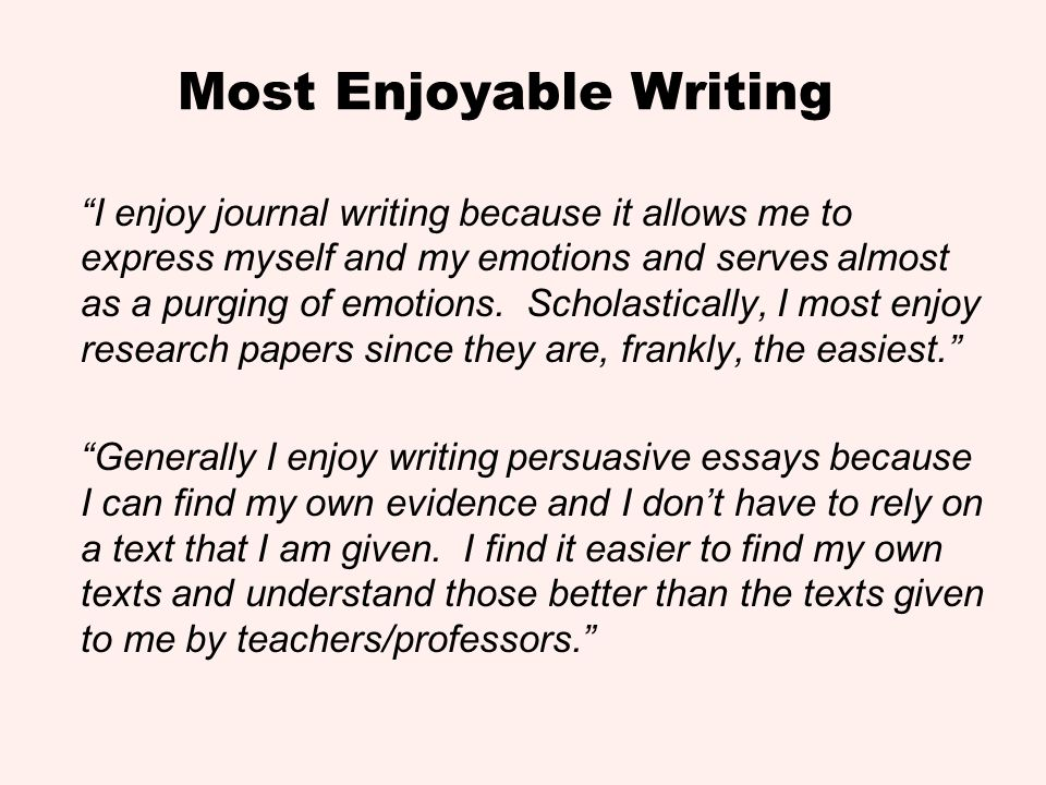 Most Enjoyable Writing