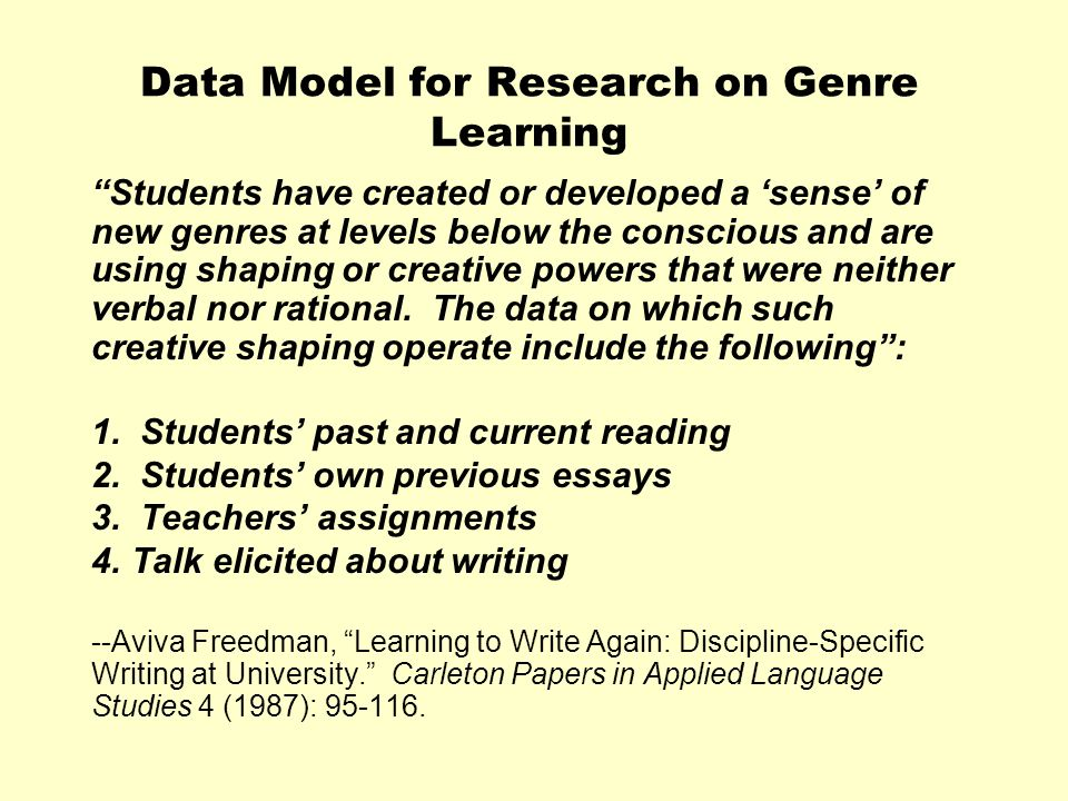 Data Model for Research on Genre Learning