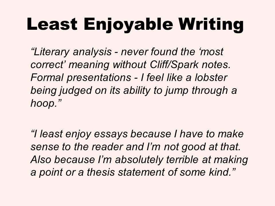 Least Enjoyable Writing