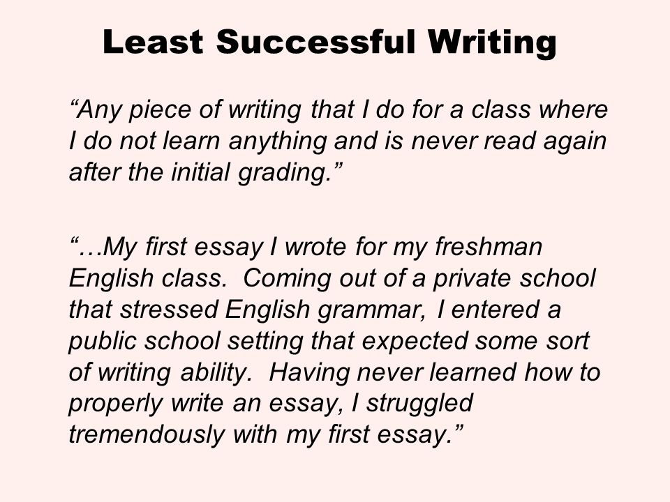Least Successful Writing