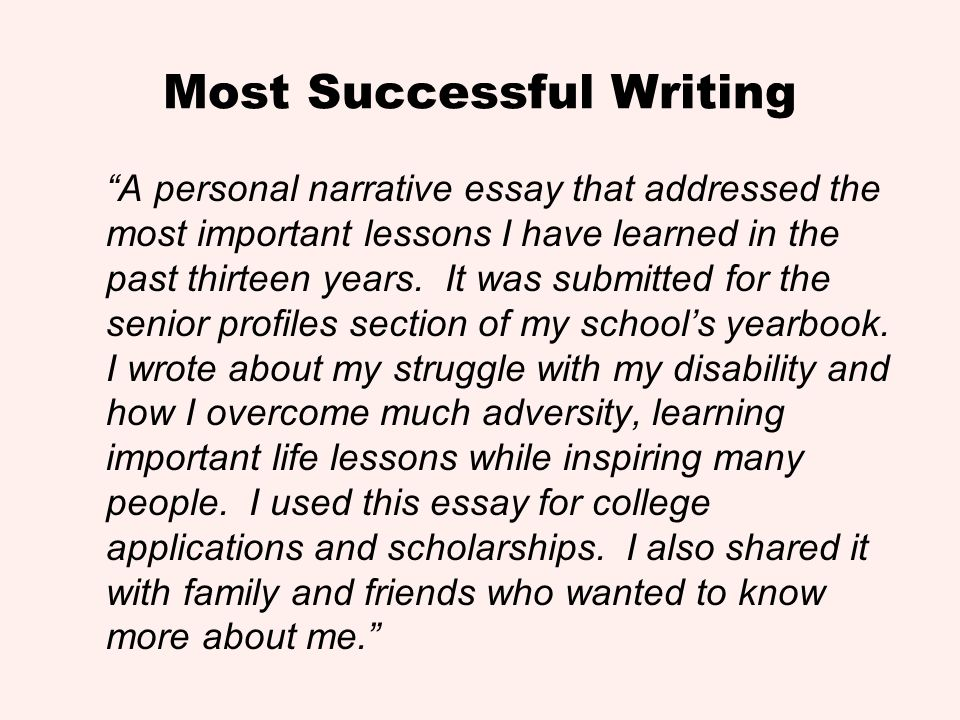 Most Successful Writing