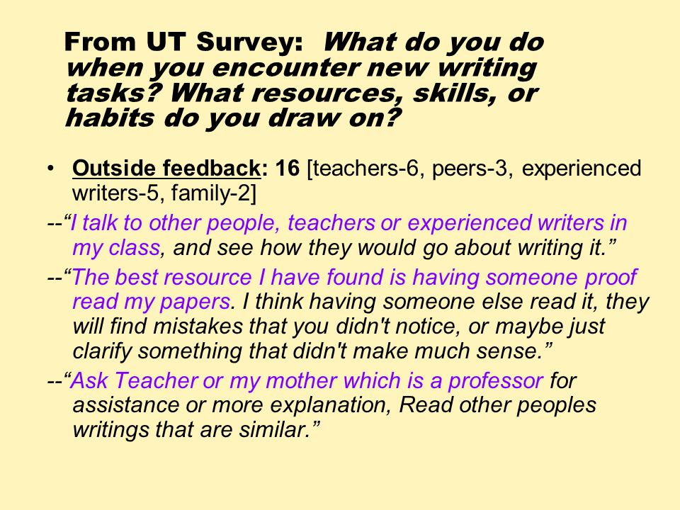 From UT Survey: What do you do when you encounter new writing tasks