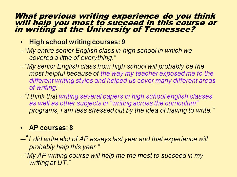 What previous writing experience do you think will help you most to succeed in this course or in writing at the University of Tennessee