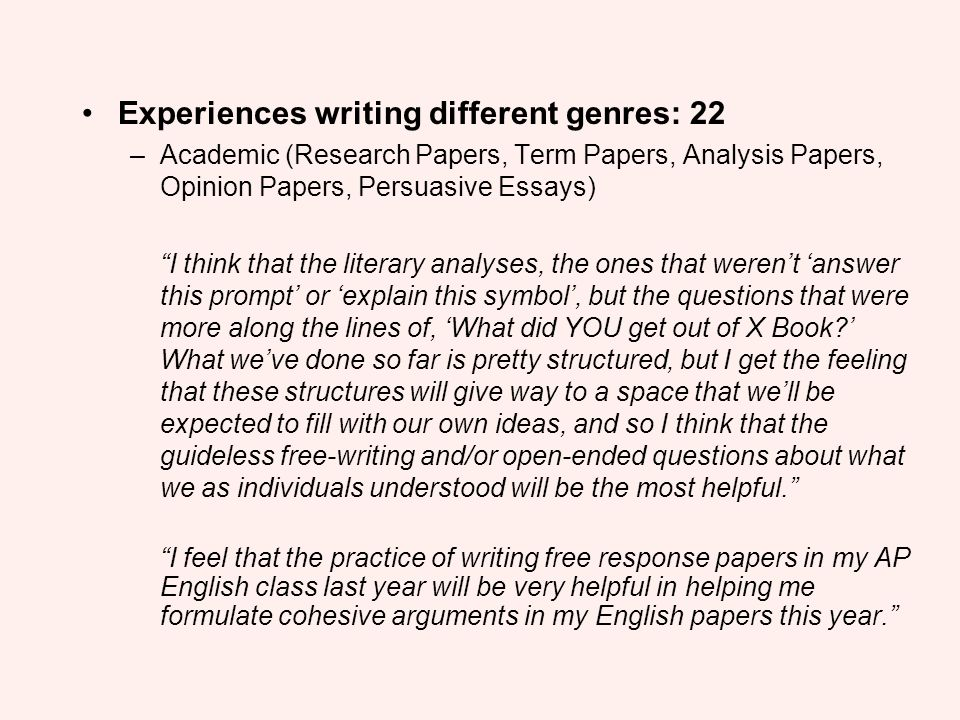 Experiences writing different genres: 22