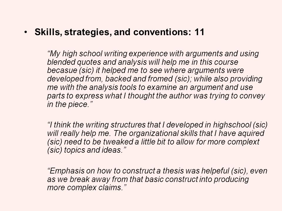 Skills, strategies, and conventions: 11