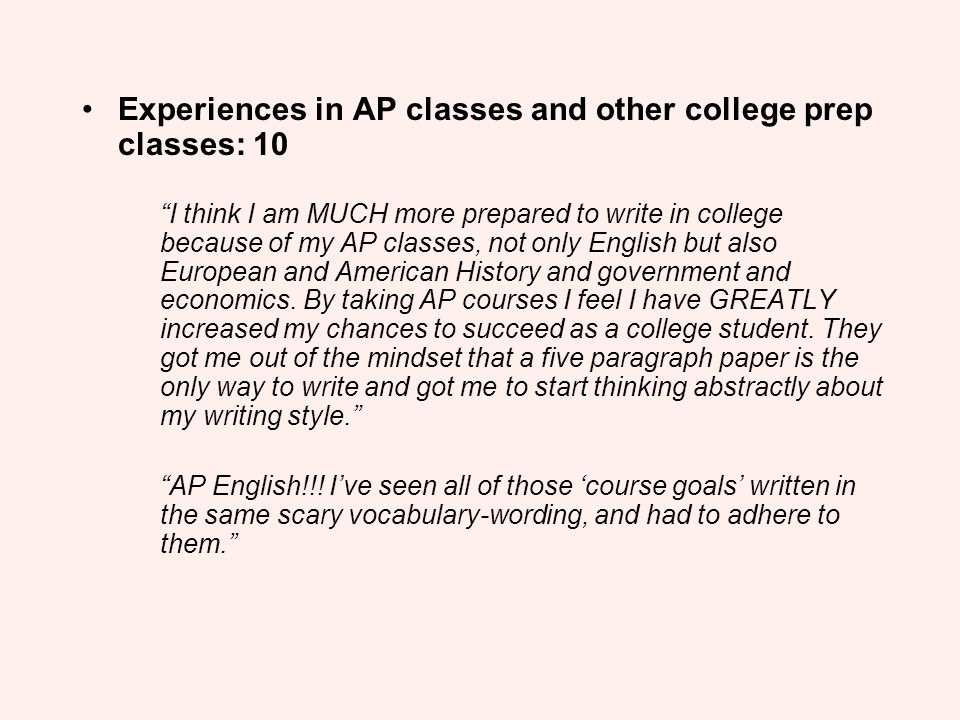 Experiences in AP classes and other college prep classes: 10