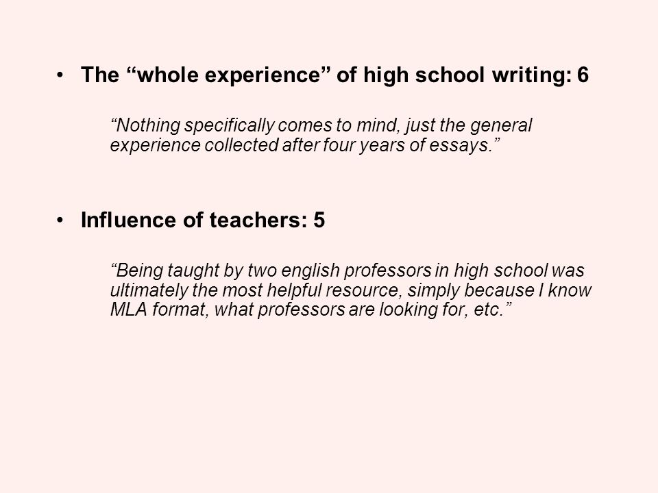 The whole experience of high school writing: 6