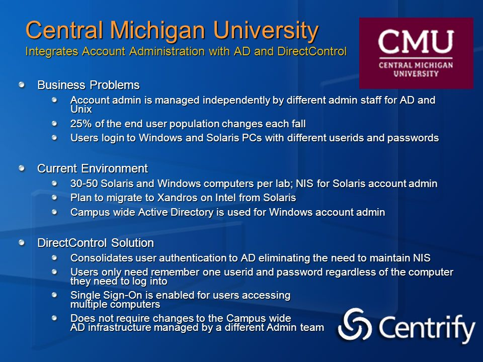 Central Michigan University Integrates Account Administration with AD and DirectControl