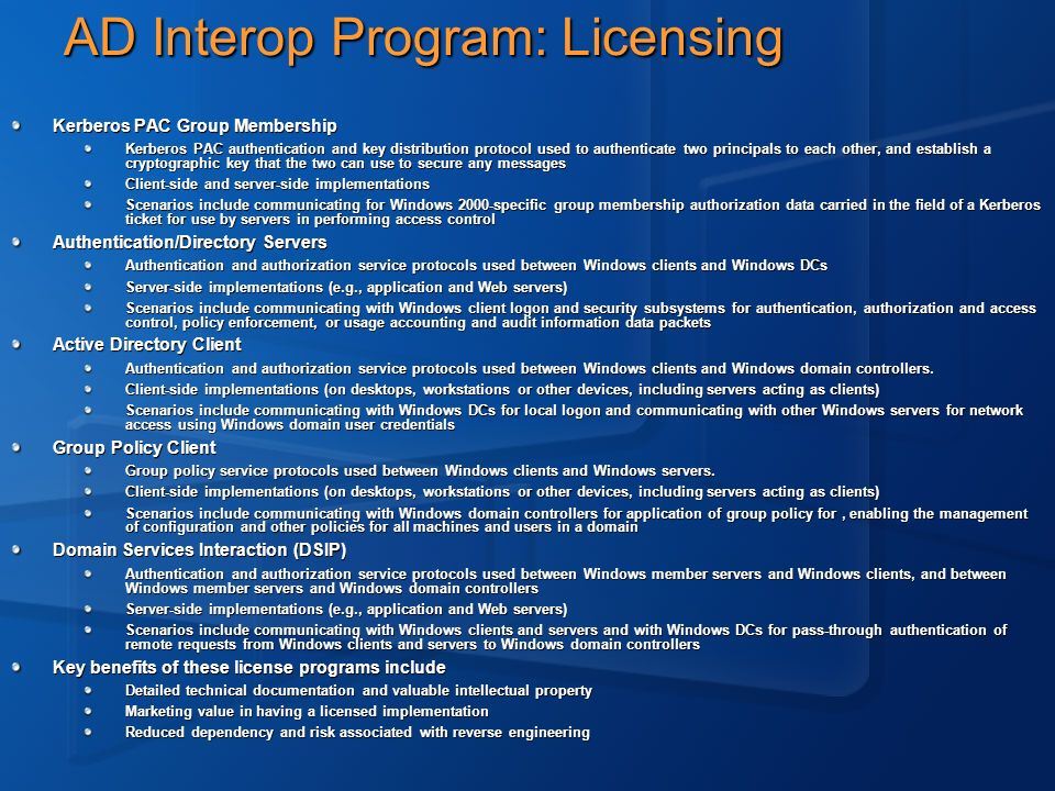 AD Interop Program: Licensing
