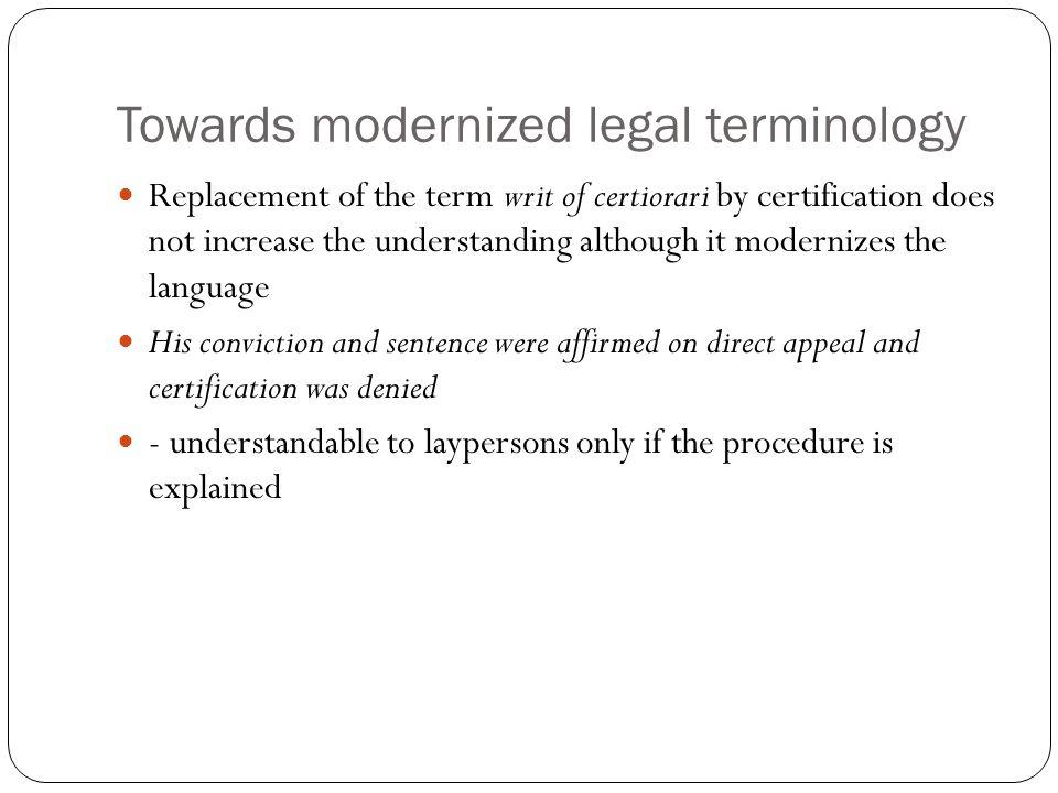 Towards modernized legal terminology
