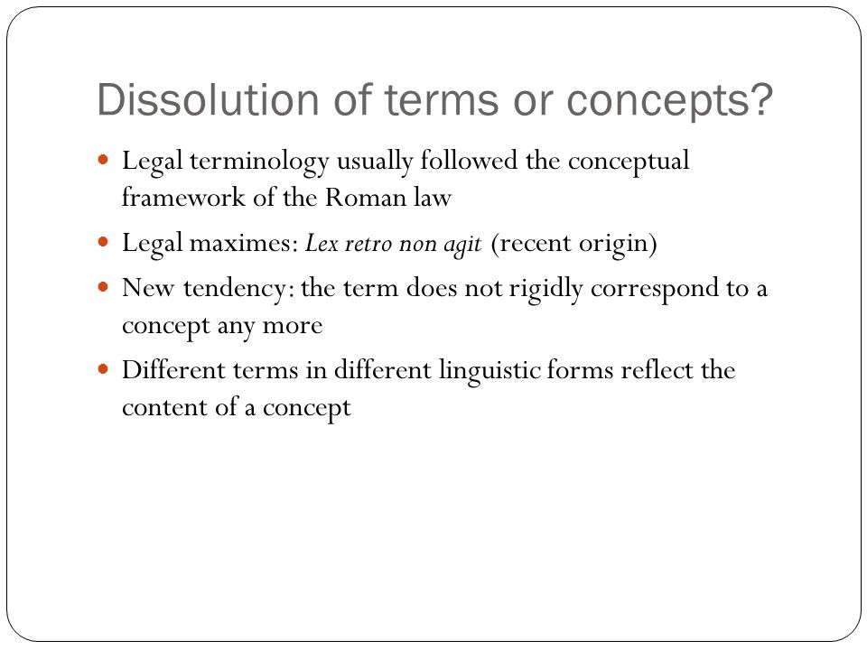 Dissolution of terms or concepts