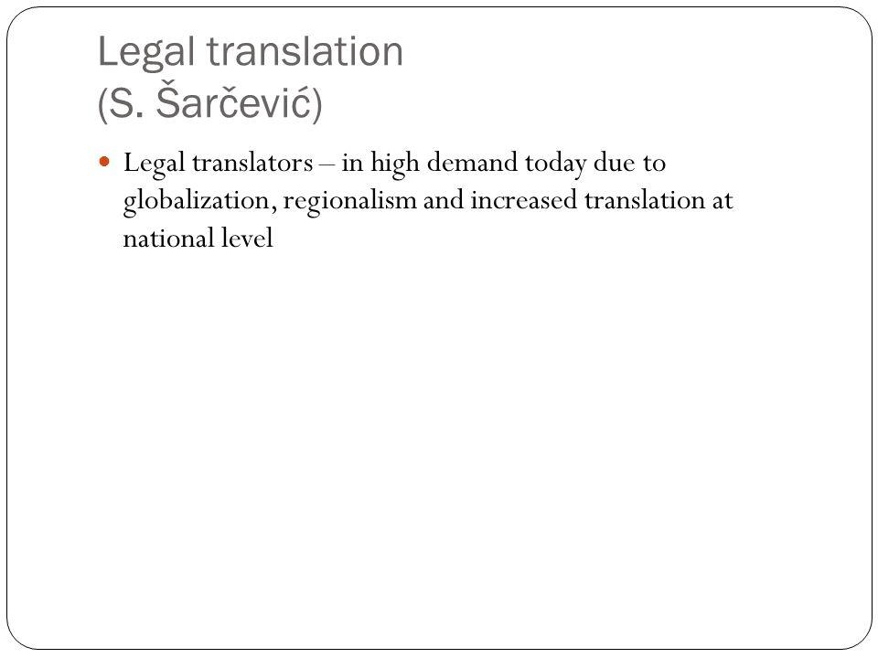 Legal translation (S. Šarčević)