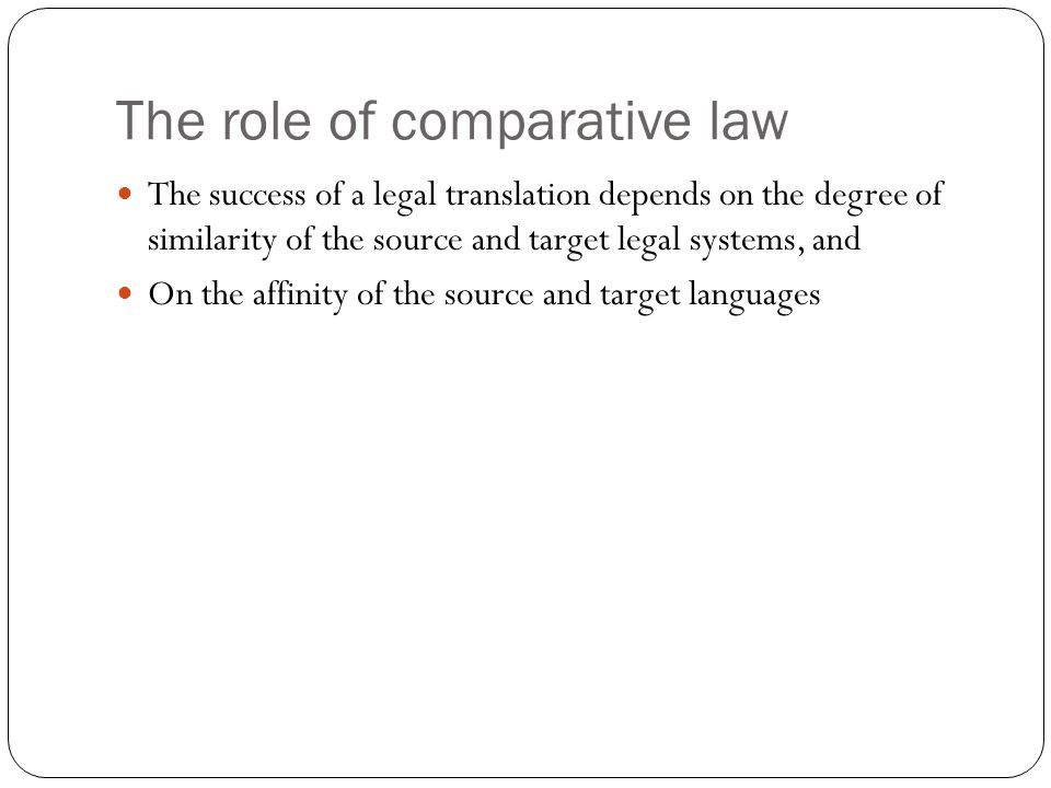 The role of comparative law
