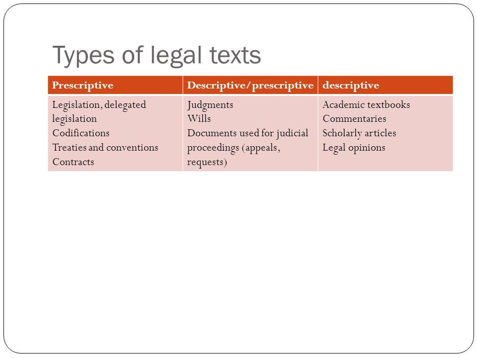 Types of legal texts Prescriptive Descriptive/prescriptive descriptive