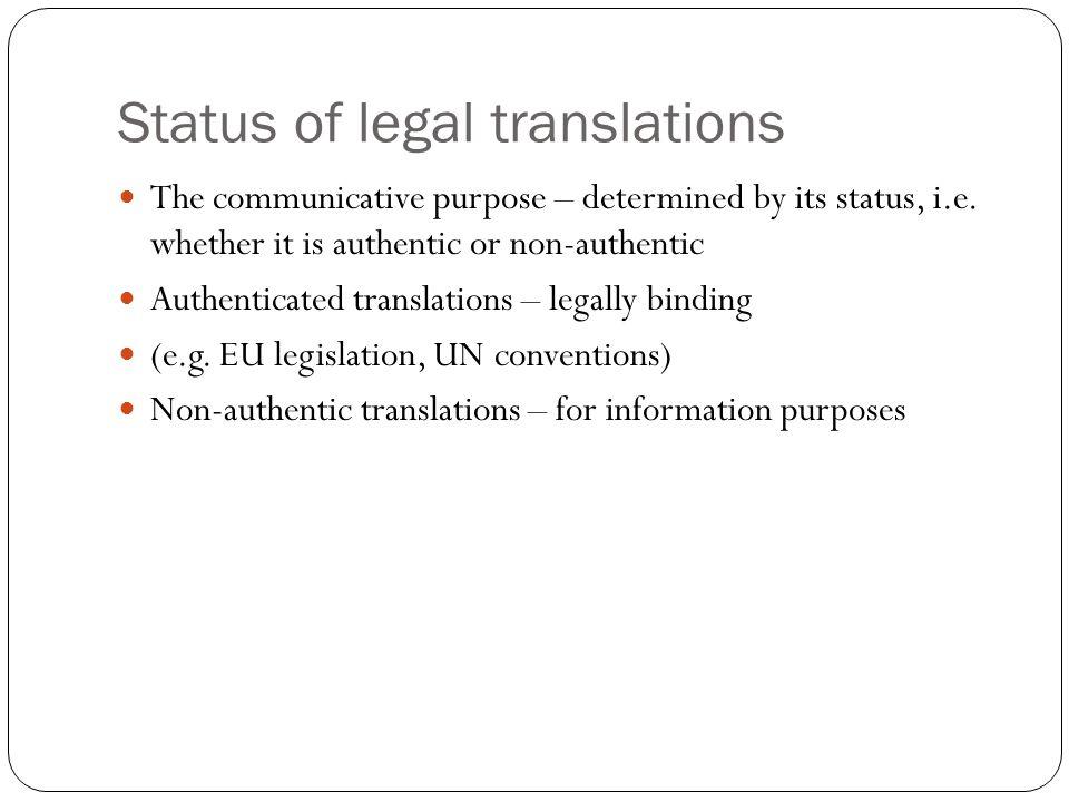 Status of legal translations