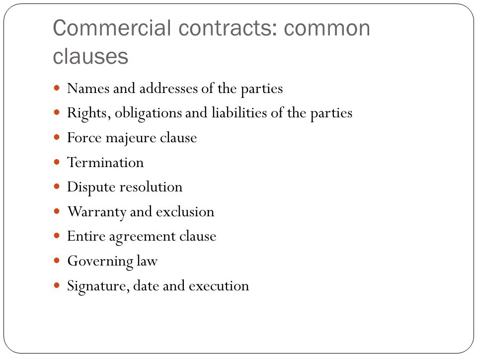 Commercial contracts: common clauses