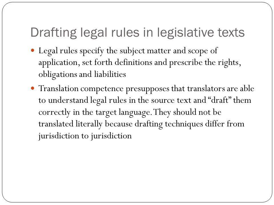 Drafting legal rules in legislative texts