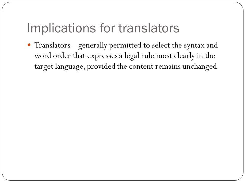 Implications for translators