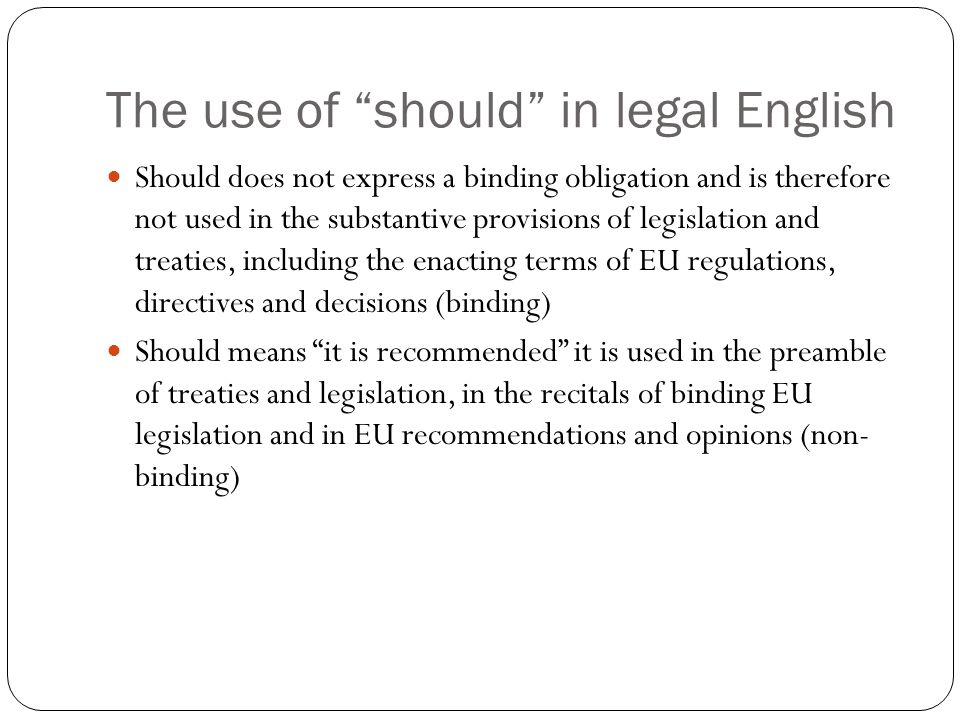The use of should in legal English