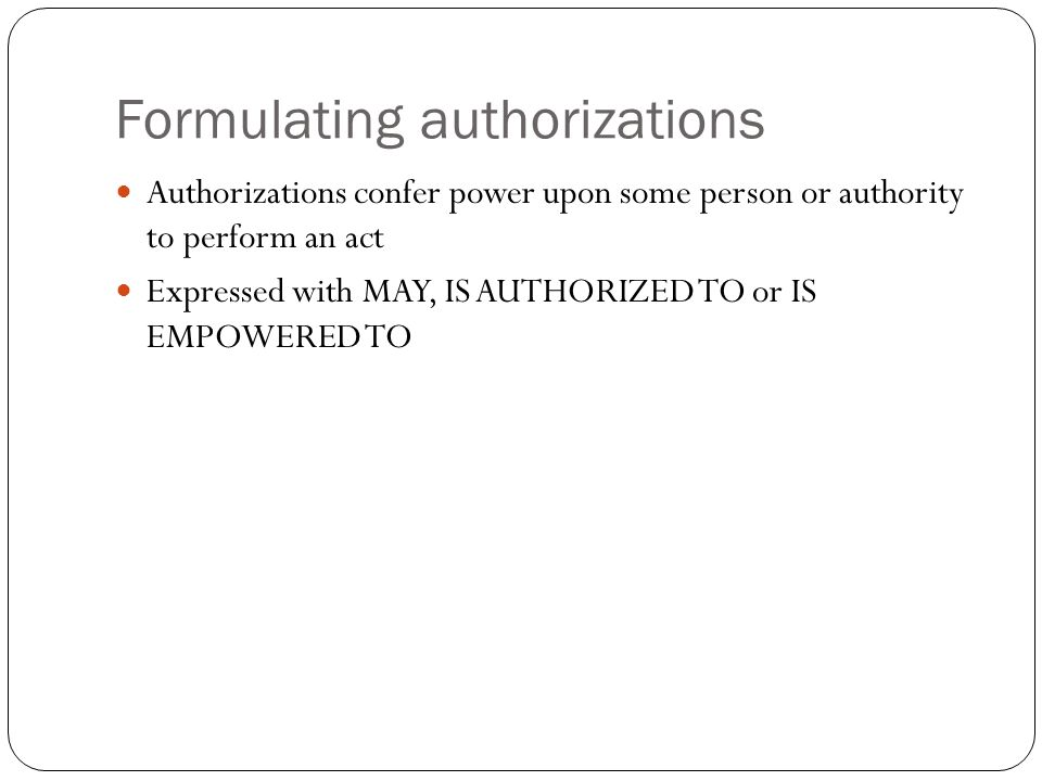 Formulating authorizations