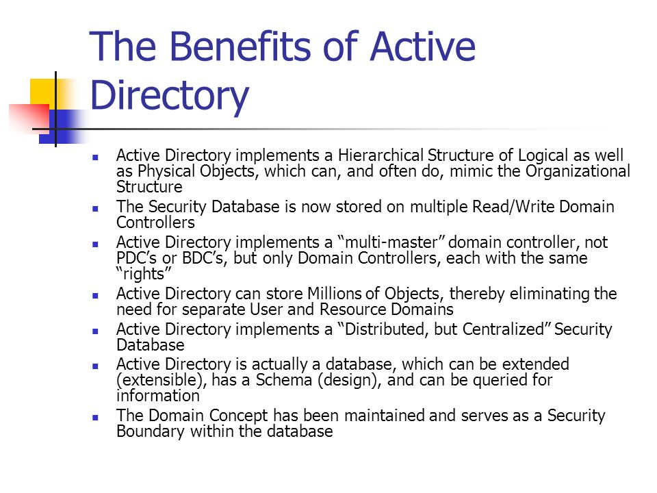 The Benefits of Active Directory