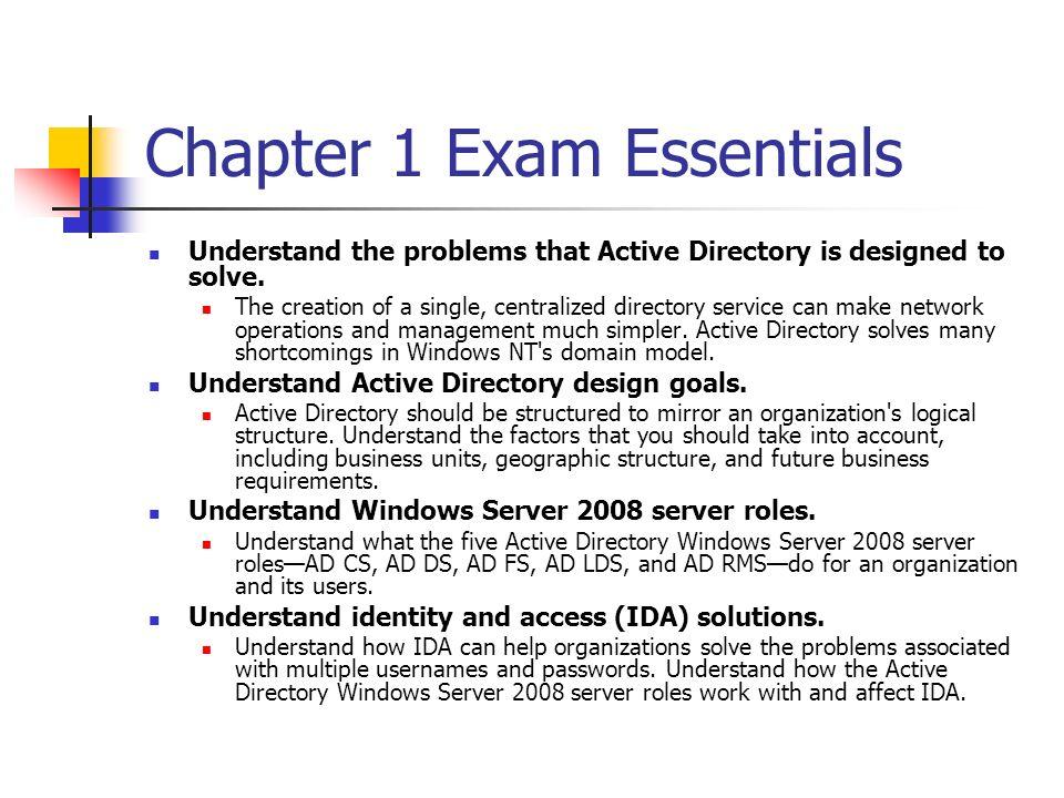 Chapter 1 Exam Essentials