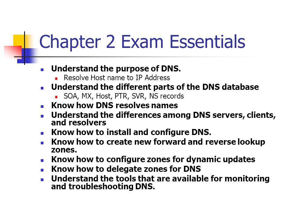 Chapter 2 Exam Essentials