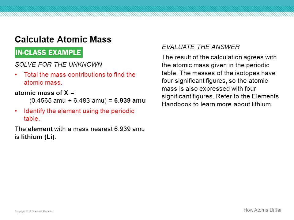 Calculate Atomic Mass EVALUATE THE ANSWER