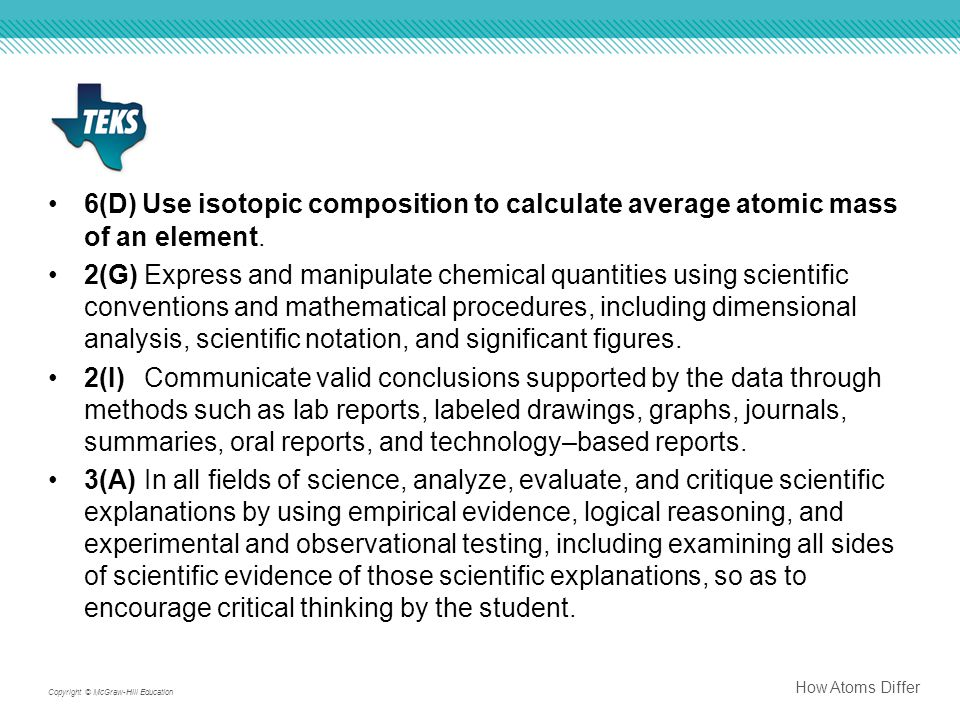 6(D) Use isotopic composition to calculate average atomic mass of an element.