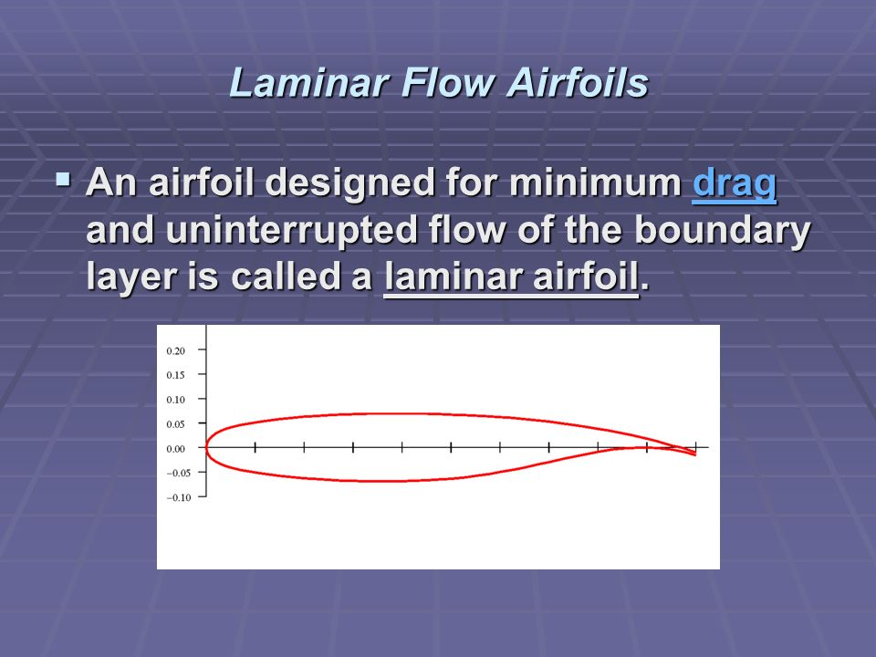 Laminar Flow Airfoils An airfoil designed for minimum drag and uninterrupted flow of the boundary layer is called a laminar airfoil.