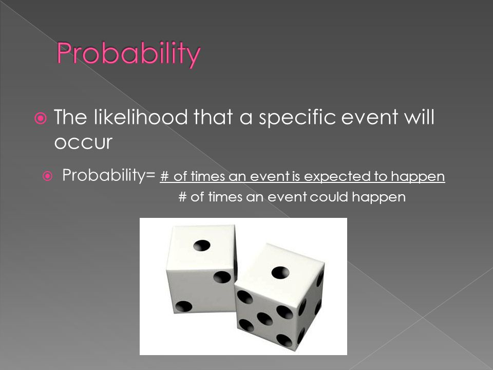 Probability The likelihood that a specific event will occur