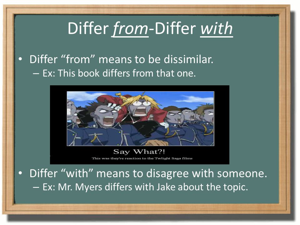 Differ from-Differ with