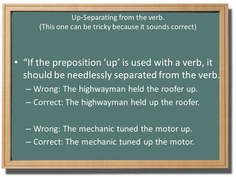 Up-Separating from the verb