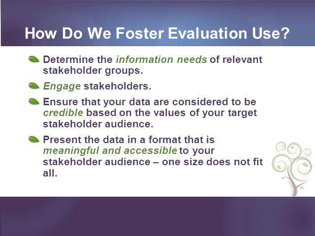 How Do We Foster Evaluation Use
