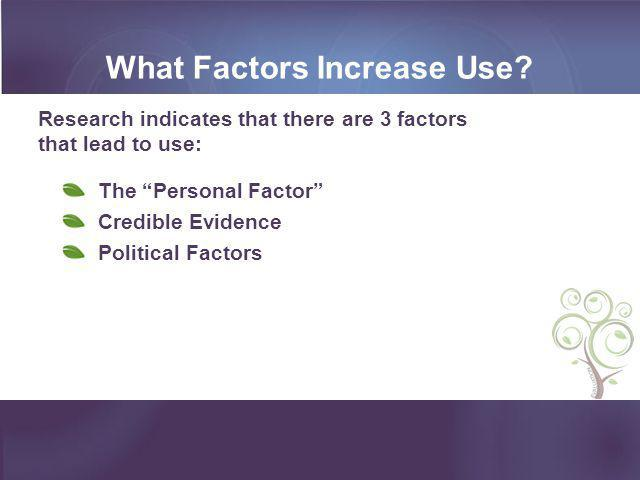 What Factors Increase Use