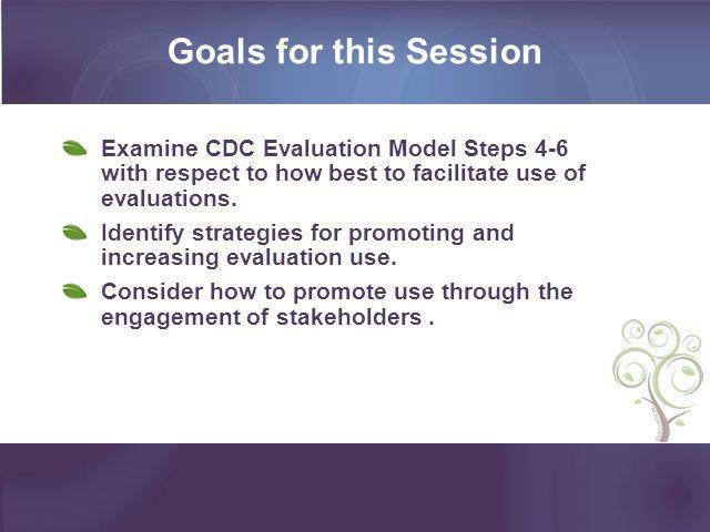 Goals for this Session Examine CDC Evaluation Model Steps 4-6 with respect to how best to facilitate use of evaluations.
