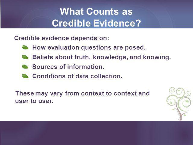 What Counts as Credible Evidence