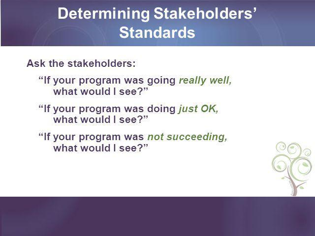Determining Stakeholders' Standards