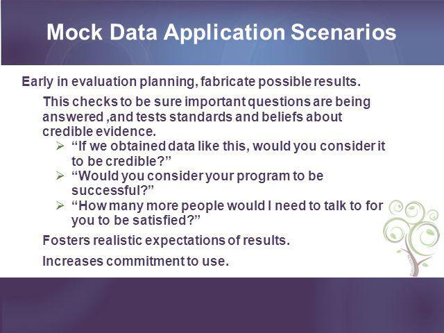 Mock Data Application Scenarios
