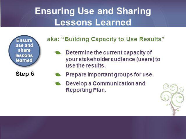 Ensuring Use and Sharing Lessons Learned