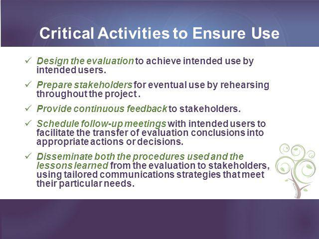 Critical Activities to Ensure Use