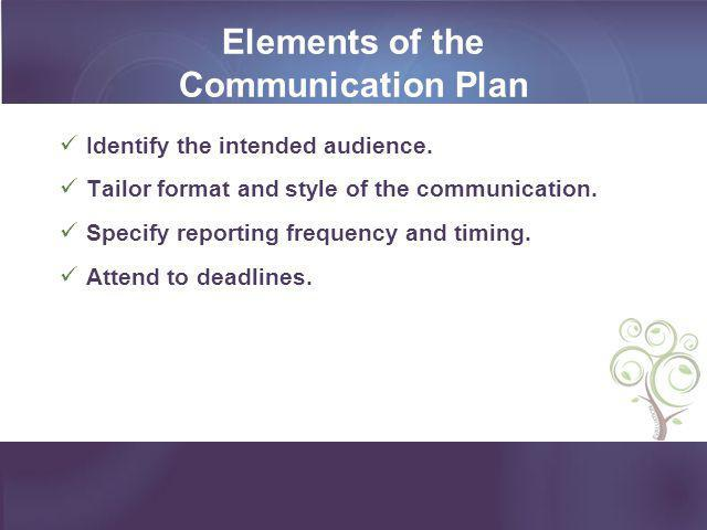 Elements of the Communication Plan