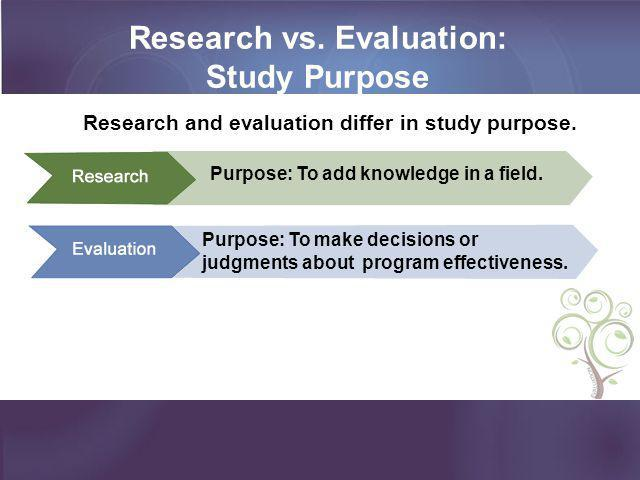 Research vs. Evaluation: Study Purpose