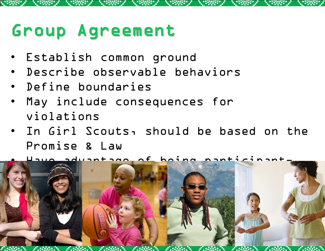 Group Agreement Establish common ground Describe observable behaviors